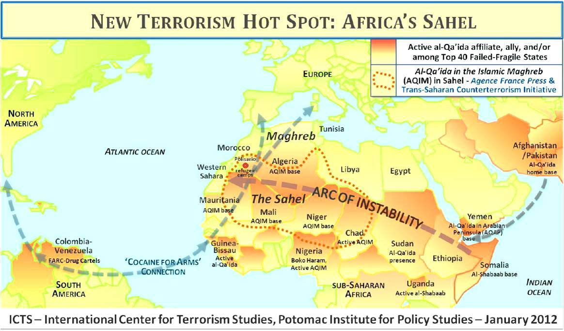 NATO CFC, CNA Strategic Studies ‒ Mali crisis and Libya arms influx feeding a Jihadist network from Asia to N. Africa, al-Qaeda's new center of gravity, creating an 'Arc of Instability' across the region. Also evidence AQIM has infiltrated Polisario-run camps in Tindouf, Algeria and Sahrawis from camps are joining terrorists in Mali.