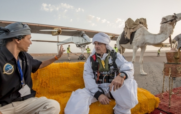 In Ouarzazate, Morocco, Solar Impulse pilot reviews advances in renewable energy technology for crossing Sahara