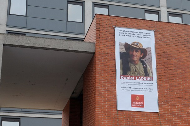 A picture showing Daniel Larribe - a French citizen abducted by several armed men on Dec. 18, 2012 in Diema, western Mali - has been set on the facade of Midi-Pyrenees regional council in Toulouse. Remy Gabalda/AFP-Getty Images