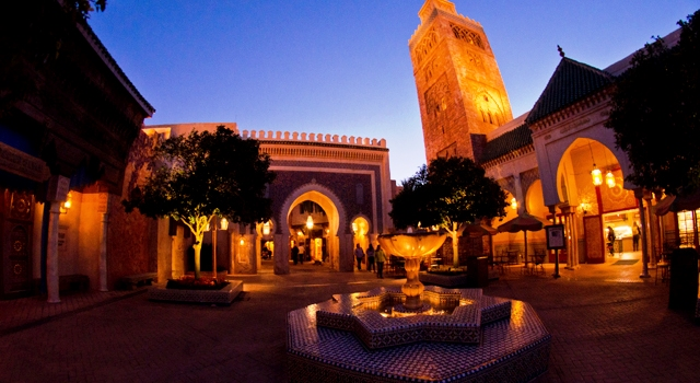 Morocco Pavilion at night.