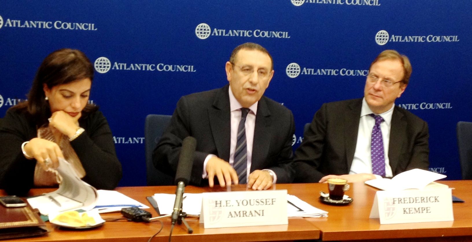 Morocco's Deputy Foreign Minister, Youssef Amrani, speaks at Atlantic Council forum in Washington, DC on Dec. 3.