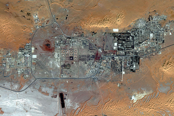 A satellite image of the city of Amenas, which is about 28 miles from the Amenas Gas Field, where Algerian special forces launched a final assault rescue operation to free foreign hostages held by al-Qaida-linked militants.  Eleven militants and seven hostages reported killed.(Photo: DigitalGlobe)