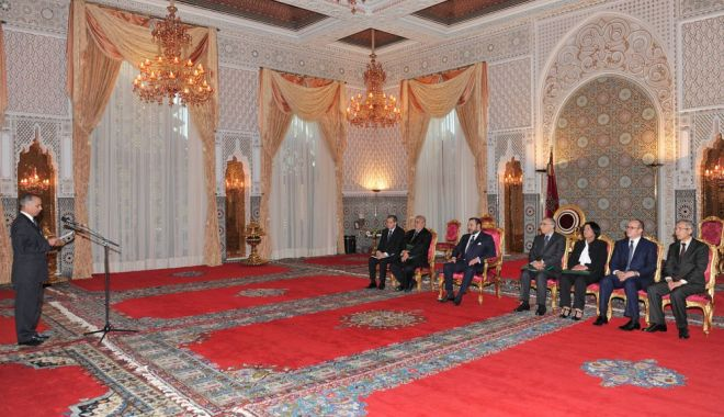 President of Economic, Social and Environmental Council, Chakib Benmoussa presents broad outline for development plan for southern provinces to Morocco's King Mohammed VI on Wednesday.