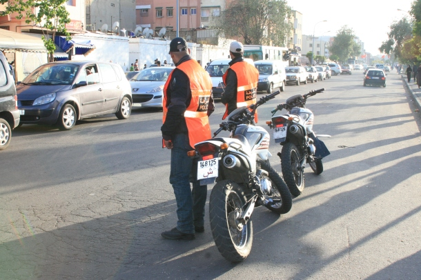 Moroccan police set up checkpoints in preparation for New Year's events. [Hassan Benmehdi]