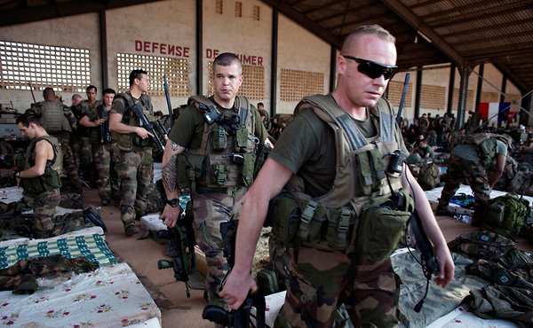 French soldiers gathered at a Malian army air base in Bamako on Monday. Joe Penney/Reuters