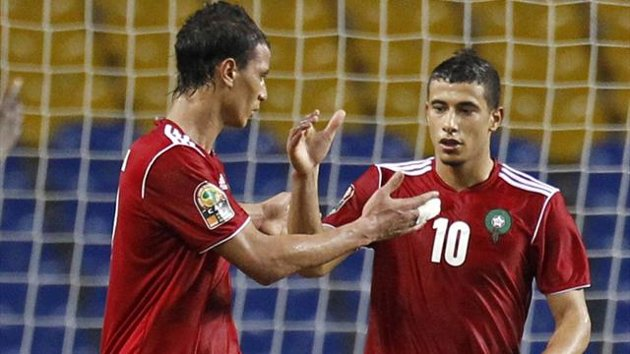 Eurosport - Morocco's Younes Belhanda (10) celebrates his goal against Niger with team-mate Marouane Chamakh (Reuters)