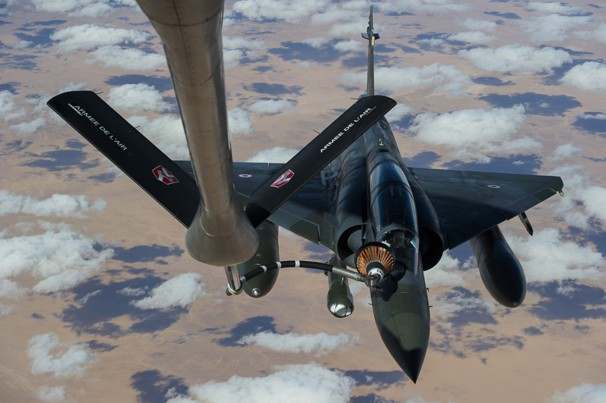 French Mirage 2000 D aircraft refuels while flying to N'Djamena overnight Jan. 11 to Jan. 12, after taking off from French military base of Nancy. Battle to retake Mali's north from al-Qaeda-linked groups began in earnest Saturday, after hundreds of French forces deployed to Mali and began aerial bombardments to drive back Islamic extremists from town seized earlier this week. R.Nicolas-Nelson, Ecpad/AP