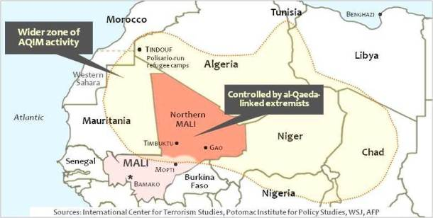 French forces engage al-Qaeda-linked rebels in Mail who were advancing toward Mopti in southern Mali, recruiting foreign fighters to buttress position. AP and AFP report jihadists across the region have poured into Mali, from Polisario-run camps near Tindouf, Algeria, from Sudan, even from Western countries.