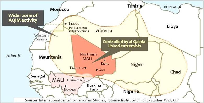 "A counterattack by al-Qaeda-linked fighters overruns small town of Diabaly, north of Ségou on the approaches to Mali capital, Bamako.  French defense minister, Jean-Yves Le Drian said the rebels ""took Diabaly after fierce fighting and resistance from the Malian Army that couldn't hold them back."""