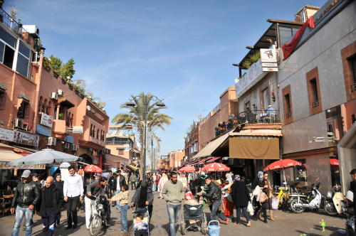 Pedestrian mall in Marrakech