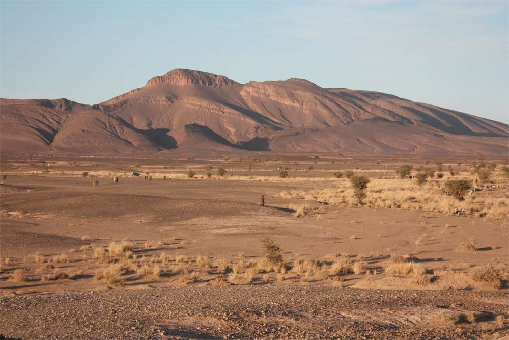 Near Al Aglaâb mountains and Sahara desert in southern Morocco, where numerous meteorites have been discovered.