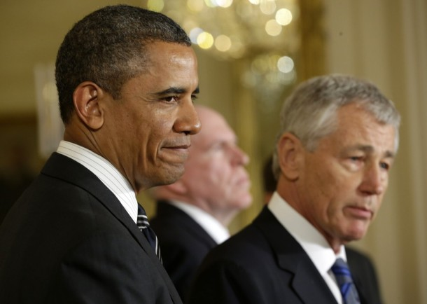 President Barack Obama with his nominees for defense secretary, former Nebraska senator Chuck Hagel, and CIA director, John Brennan (Pablo Martinez Monsivais/Associated press)