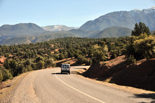 Road into the Atlas Mountains in Morocco