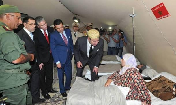 Royal visit to wounded Syrians at the Zaatari hospital in Jordan.