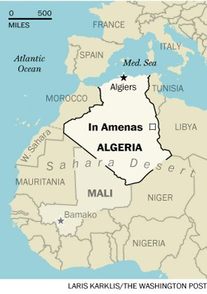 Location of attack claimed by al-Qaeda in the Islamic Maghreb in Algeria