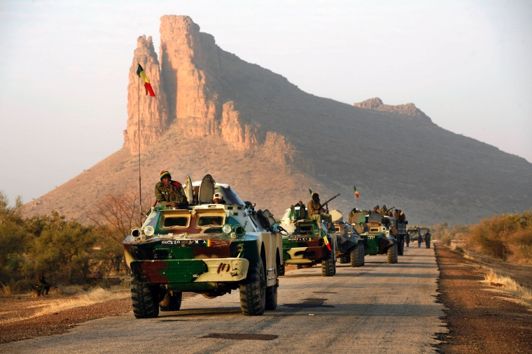 A convoy of Malian troops near Hambori, northern Mali, on the road to Gao.