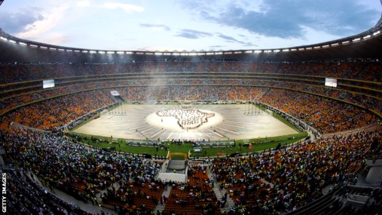 Closing ceremony before 2013 Africa Cup of Nations Final between Nigeria and Burkina Faso at National Stadium in Johannesburg, South Africa.