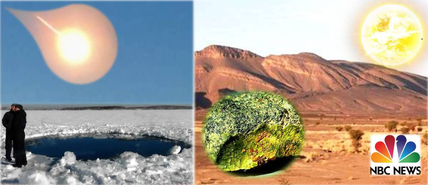 Scientists search Chebarkul Lake for fragments of small asteroid that exploded over central Russia with power of 500 kilotons of TNT.  In southern Morocco, scientists recovered a greenish rock they think may be the first meteorite blasted off the planet Mercury. NBC News/VOA