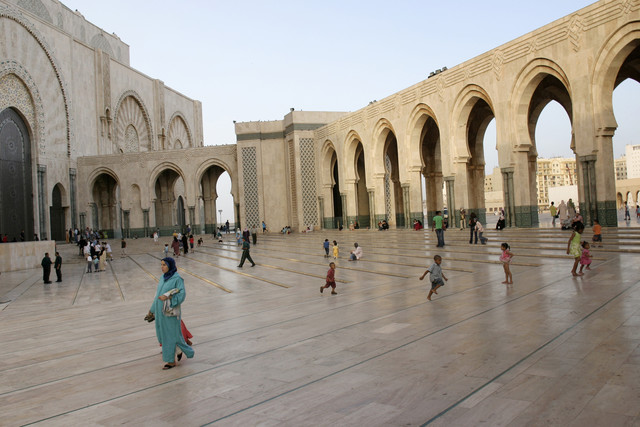 A view of the Hassan II Mosque esplanade is seen in Casablanca, Morocco. Morocco's government has encouraged drilling to reduce energy imports. The nation gets more than 90 percent of its gas and 99 percent of its oil from abroad. Photographer: Eve Coulon/Bloomberg