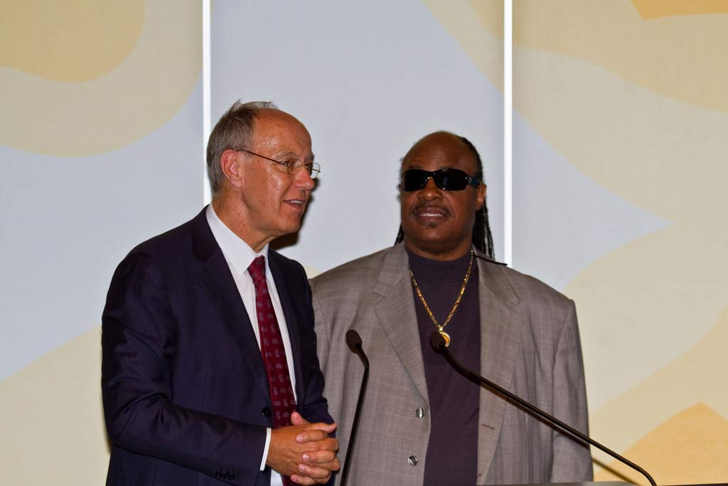 WIPO Director General Francis Gurry (left) and music legend Stevie Wonder in 2010. Photo: WIPO/Emmanuel Berrod