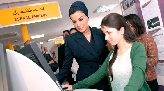HH Sheikha Moza bint Nasser visiting the Rabat headquarters of Morocco's National Agency for the Promotion of Employment and Skills. Photo: ANApec