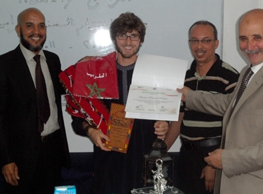 Andrew receiving his certificate for completing his Arabic course in El Jadida, Morocco. Al Arabiya