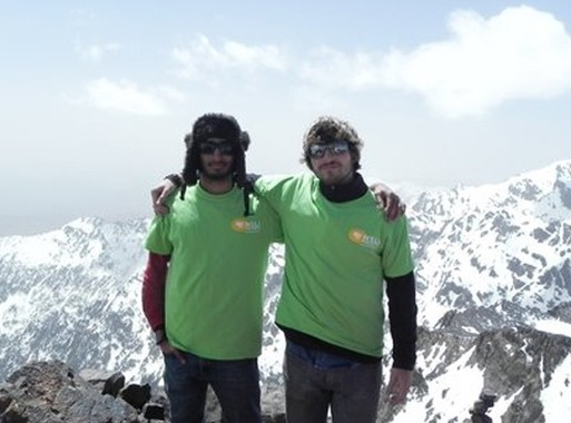 Andrew with his friend Junaid on the summit of Mount Toubkal. Al Arabiya