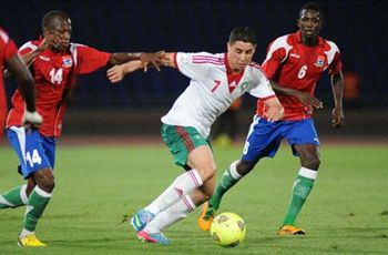 Morocco midfielder Abdelaziz Barrada drives with the ball against Gambia.