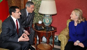Moroccan Foreign Minister Saad Eddine Othmani with then-Secretary of State Hillary Clinton in February 2012. (Abdelhak Senna/Getty Images)