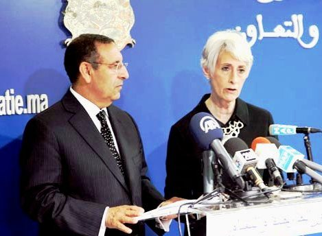 US Under-Secretary for Political Affairs, Wendy Sherman meets with reporters at press briefing in Rabat with Minister Delegate of Foreign Affairs, Youssef Amrani.  MAP