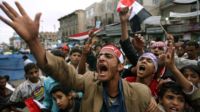 Protesters in Yemen in 2011, demanding President Ali Abdullah Saleh's removal. (Photo: CNN)