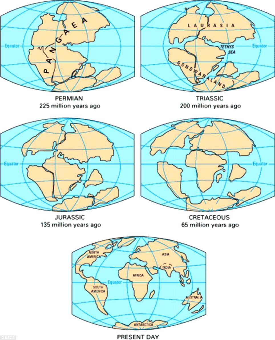 Science: German scientist Alfred Wegener proposed that the process of continental drift began during the Triassic period, around 200 million years ago. Daily Mail