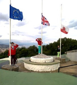 Saluting Gibraltar from the Upper Rock. FT