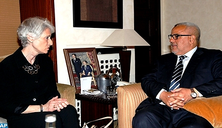 US Under-Secretary for Political Affairs, Wendy Sherman meets with Head of Government, Abdelilah Benkirane.  MAP