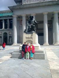 The Parker family outside the Prado in Madrid