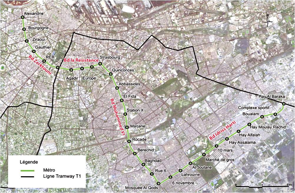 The 9.3 miles railway in Casablanca's proposed new sky train will link the neighborhoods of Bourgogne and Hay Moulay Rachid, with 26 station stops planned in between, and will serve an approximate total of 2 million people.
