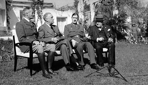Allied leaders (from left) French General Henri Giraud, U.S. President Franklin D. Roosevelt, French General Charles de Gaulle, and British Prime Minister Winston Churchill at the Casablanca Conference, January 1943. Credit: U.S. Army Photo