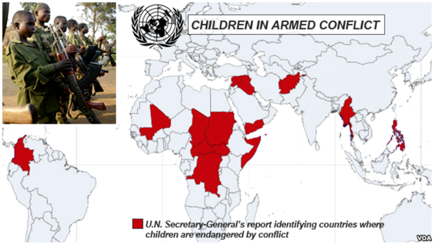 Countries with Children in Armed Conflict.    VOA, MOTM