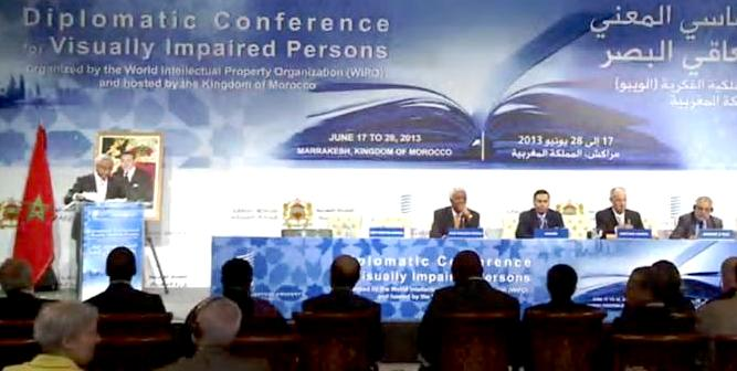 Moroccan offials and Director General Francis Gurry, with members of the secretariat, at the opening of the WIPO Diplomatic Conference in Marrakesh. YouTube