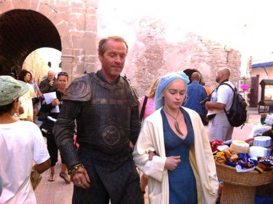 "Emilia Clarke on set in Morocco preparing for scene as dragon Princess Daenerys Targaryen in ""Game of Thrones."""