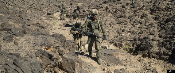 French soldiers patrolling in the Mettatai region in northern Mali. AP Photo/Arnaud Roine/ECPAD