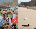 gneufferSide-by-side of two pictures shows beach in Rabat crowded on July 7, 2013 – much less so on July 12, 2013 after the Muslim fasting month of Ramadan began in Morocco. Huffington Post, Photo: Fadel Senna/AFP/Getty Images