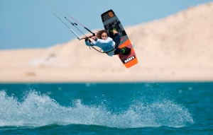 Salma Firiti of Morocco, in Women's 2013 Kiteboarding Freestyle competition, in Dakhla, a hidden gem gaining international acclaim.